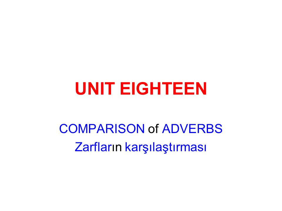 COMPARISON of ADVERBS Zarfların karşılaştırması