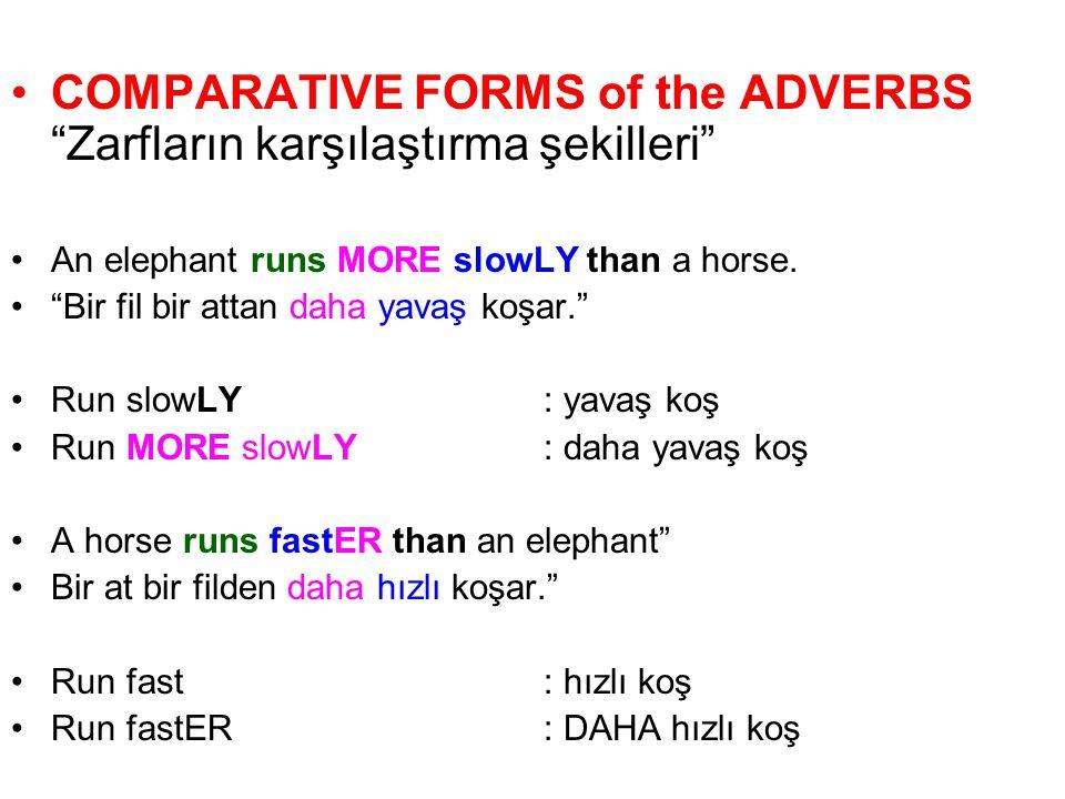 COMPARATIVE FORMS of the ADVERBS Zarfların karşılaştırma şekilleri