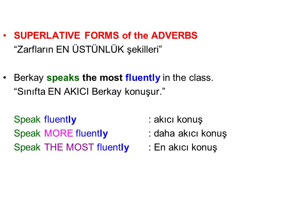 SUPERLATIVE FORMS of the ADVERBS