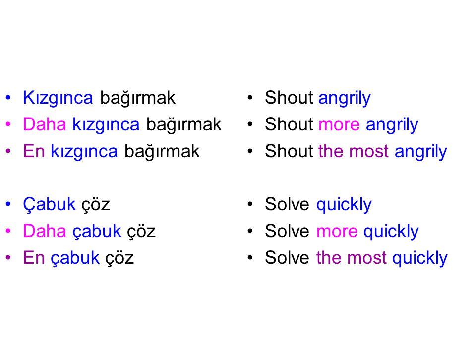 Kızgınca bağırmak Daha kızgınca bağırmak. En kızgınca bağırmak. Çabuk çöz. Daha çabuk çöz. En çabuk çöz.