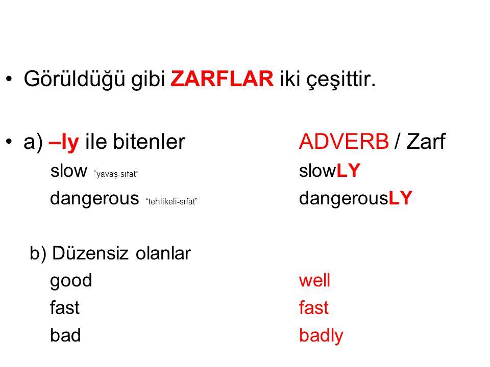 Görüldüğü gibi ZARFLAR iki çeşittir. a) –ly ile bitenler ADVERB / Zarf