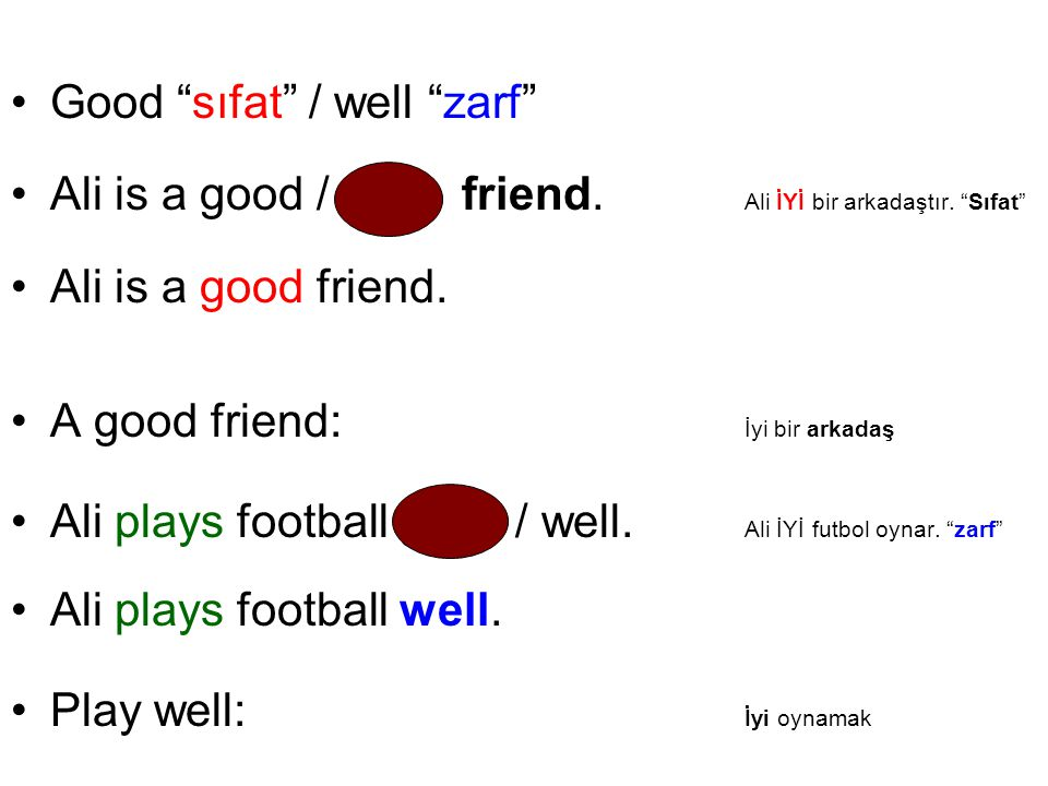 Good sıfat / well zarf