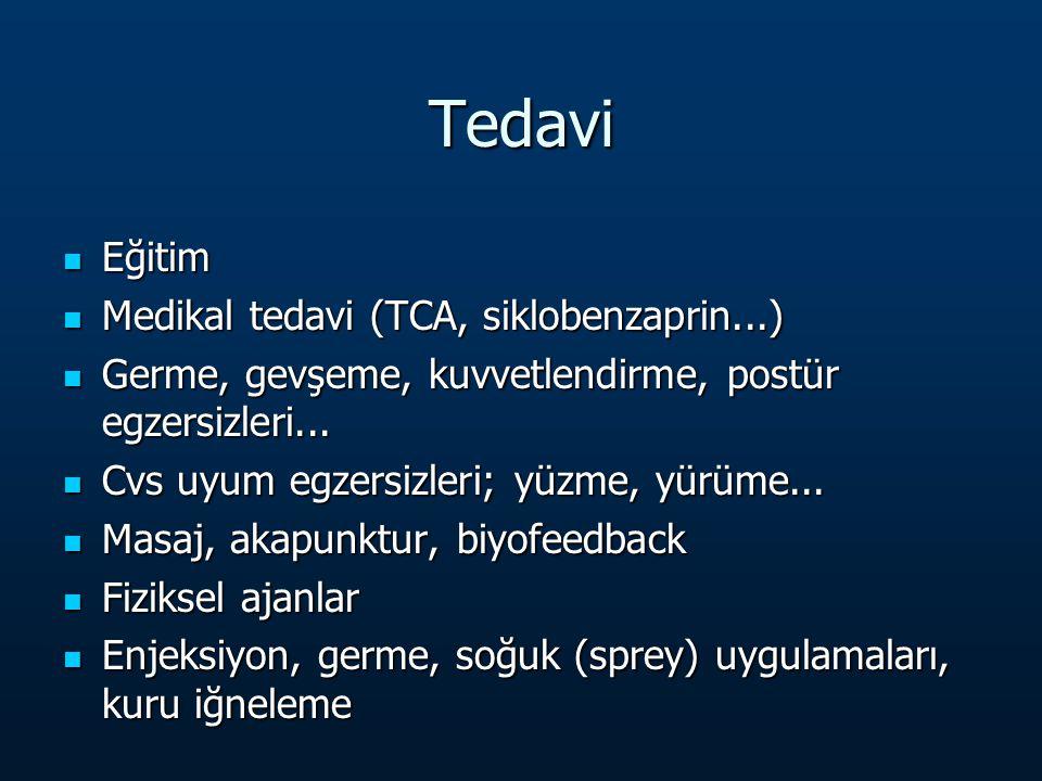 Tedavi Eğitim Medikal tedavi (TCA, siklobenzaprin...)