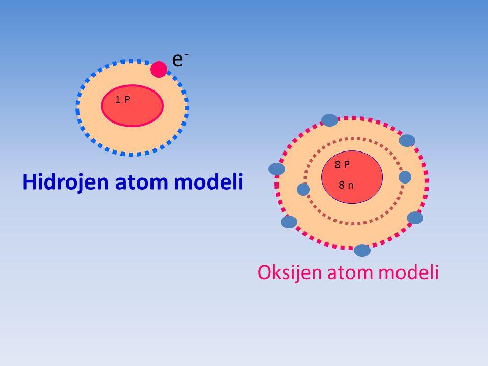 e- 1 P 8 P Hidrojen atom modeli 8 n Oksijen atom modeli