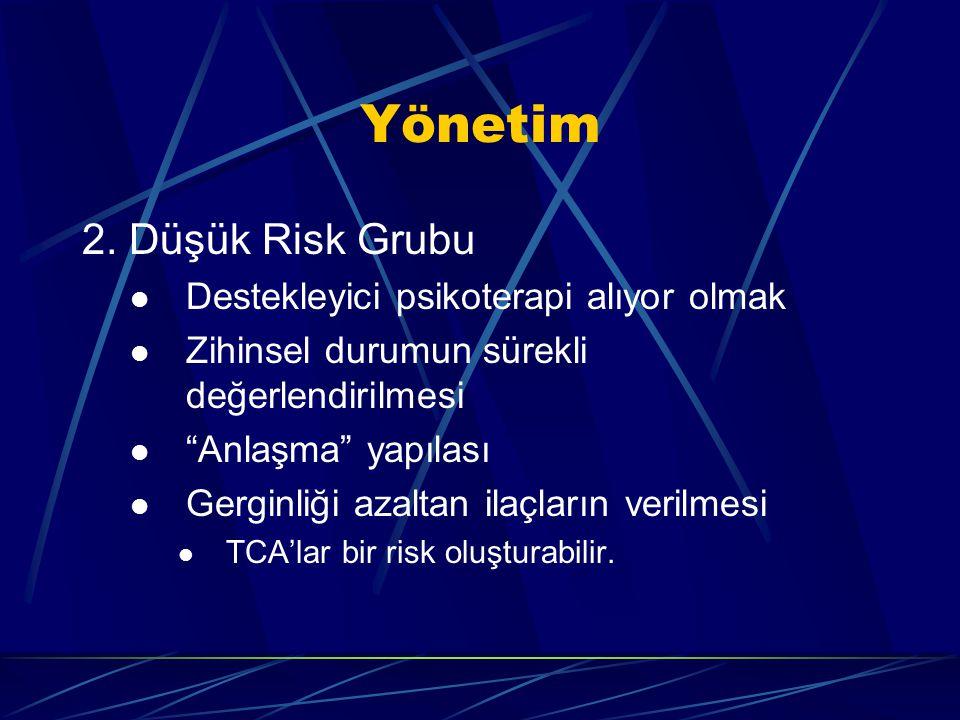 Yönetim 2. Düşük Risk Grubu Destekleyici psikoterapi alıyor olmak