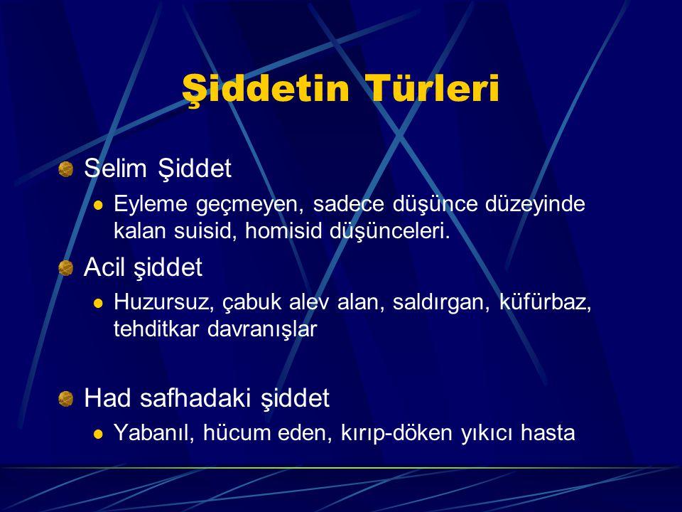 Şiddetin Türleri Selim Şiddet Acil şiddet Had safhadaki şiddet