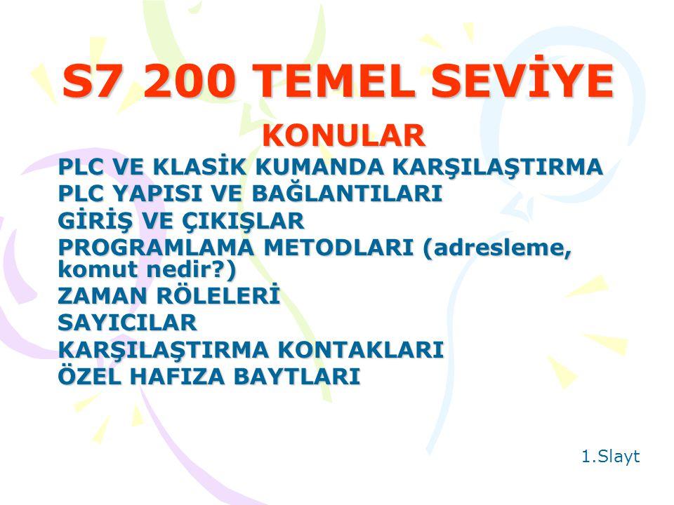 S7 200 TEMEL SEVİYE KONULAR PLC VE KLASİK KUMANDA KARŞILAŞTIRMA