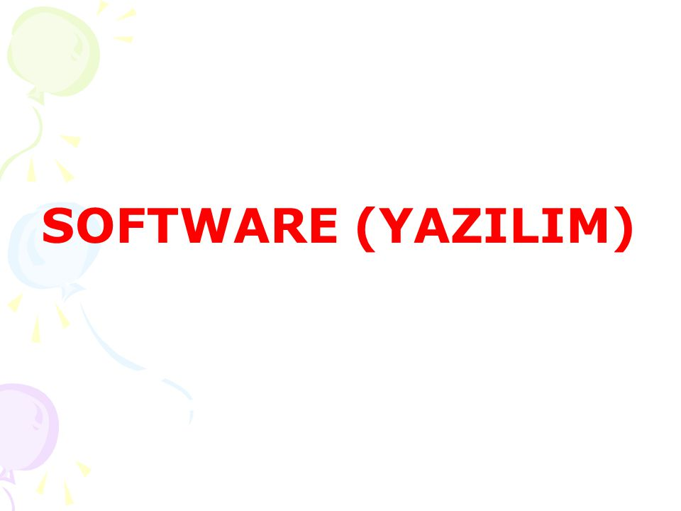 SOFTWARE (YAZILIM)