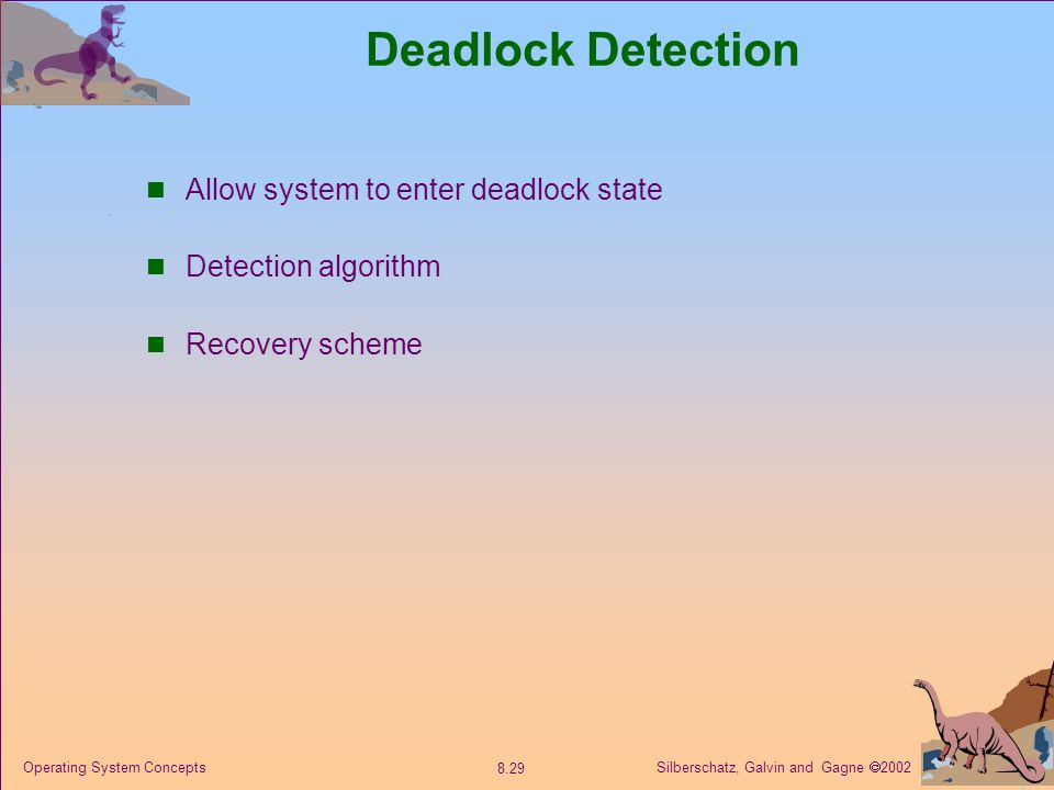 Deadlock Detection Allow system to enter deadlock state