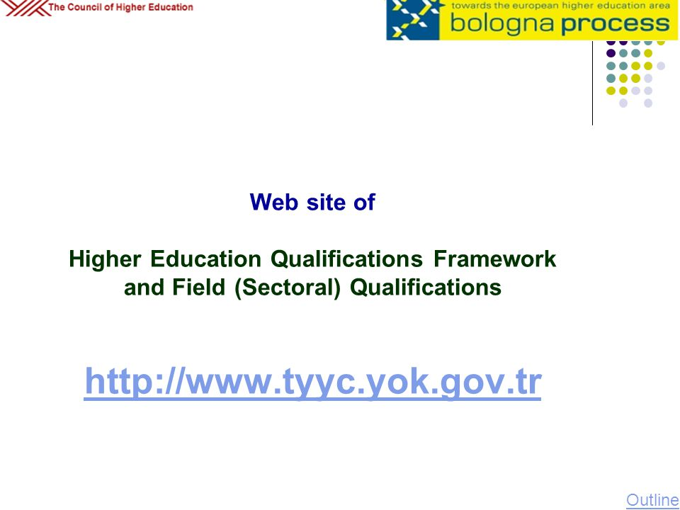Web site of Higher Education Qualifications Framework and Field (Sectoral) Qualifications http://www.tyyc.yok.gov.tr