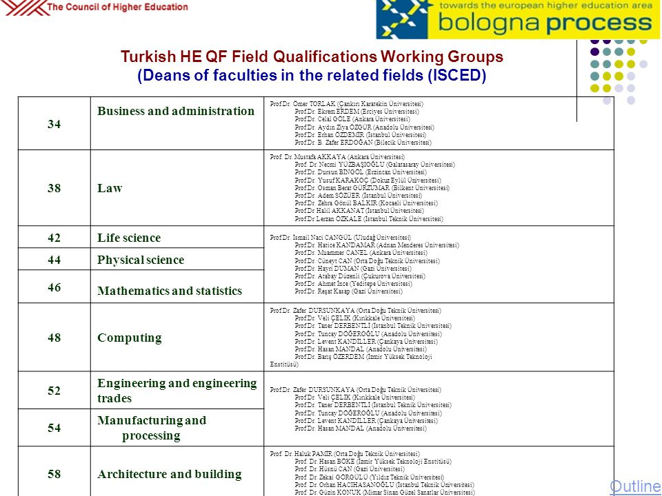 Turkish HE QF Field Qualifications Working Groups (Deans of faculties in the related fields (ISCED)