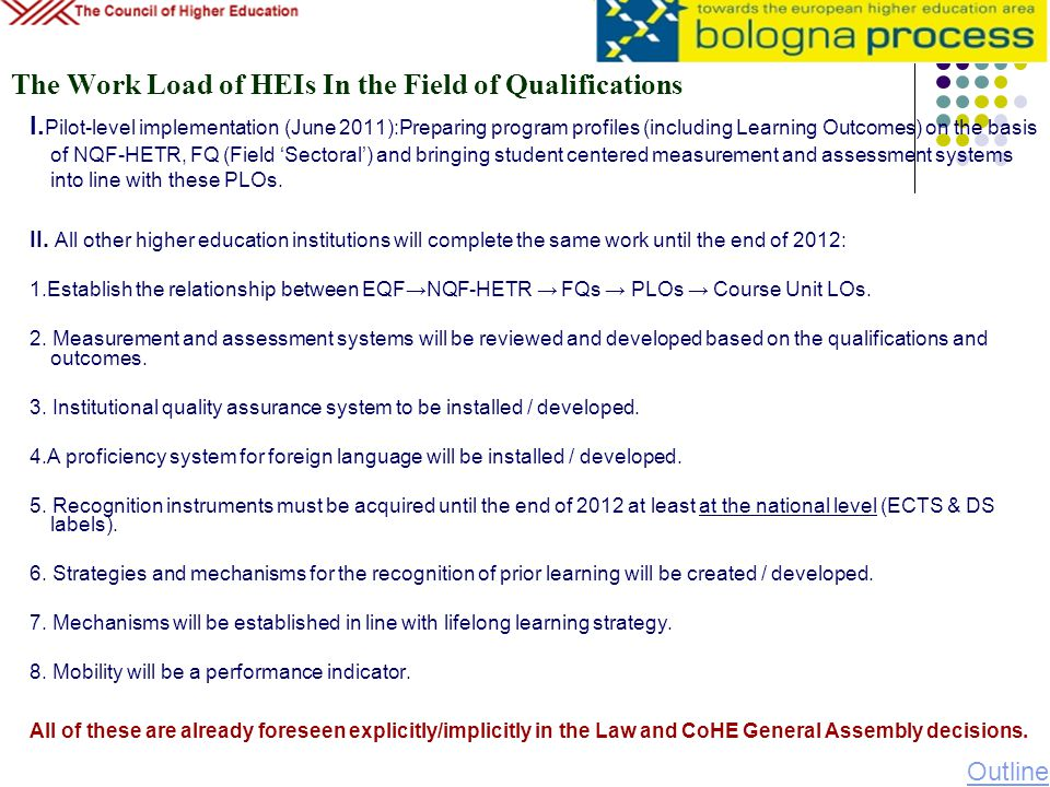 The Work Load of HEIs In the Field of Qualifications