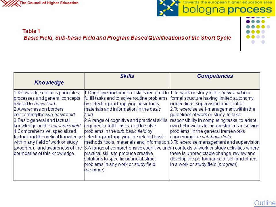 Table 1 Basic Field, Sub-basic Field and Program Based Qualifications of the Short Cycle. Knowledge.