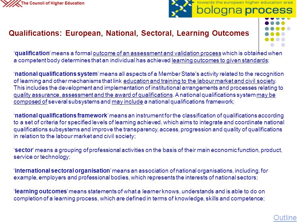 Qualifications: European, National, Sectoral, Learning Outcomes