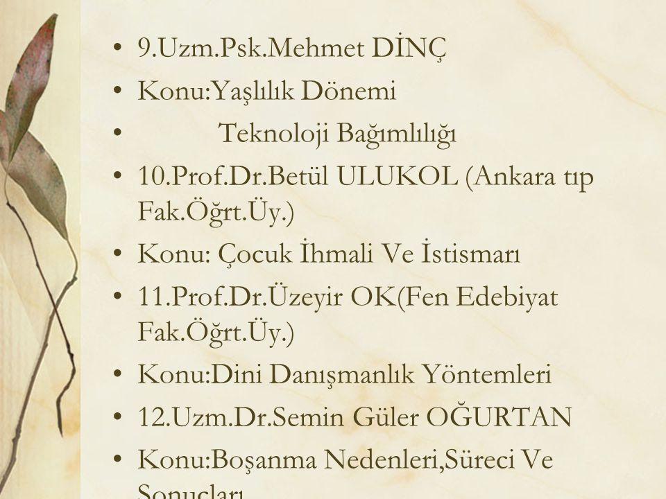 9.Uzm.Psk.Mehmet DİNÇ Konu:Yaşlılık Dönemi. Teknoloji Bağımlılığı. 10.Prof.Dr.Betül ULUKOL (Ankara tıp Fak.Öğrt.Üy.)