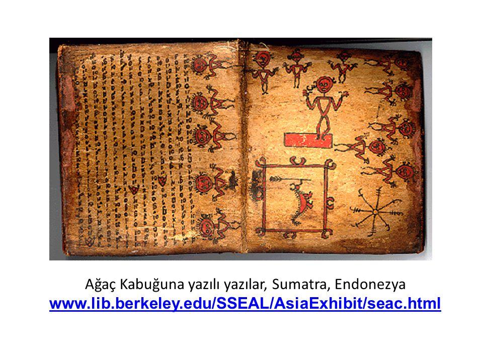 Ağaç Kabuğuna yazılı yazılar, Sumatra, Endonezya www. lib. berkeley