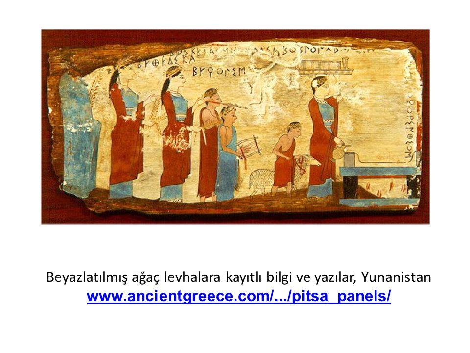 Beyazlatılmış ağaç levhalara kayıtlı bilgi ve yazılar, Yunanistan