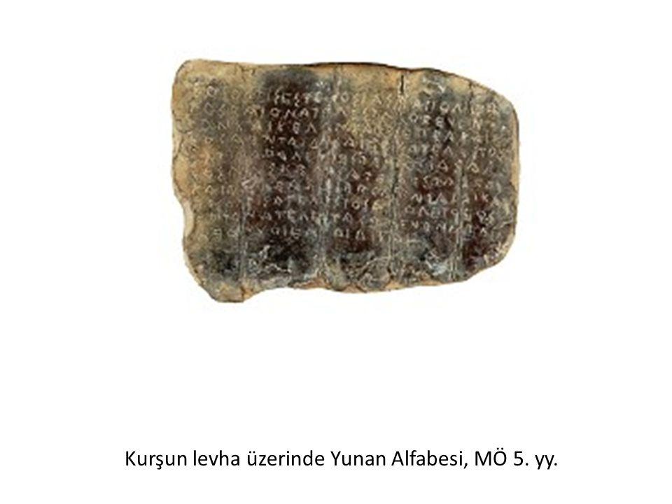Kurşun levha üzerinde Yunan Alfabesi, MÖ 5. yy.