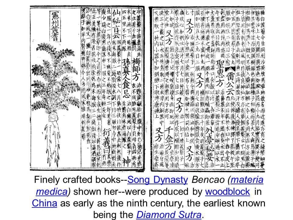 Finely crafted books--Song Dynasty Bencao (materia medica) shown her--were produced by woodblock in China as early as the ninth century, the earliest known being the Diamond Sutra.