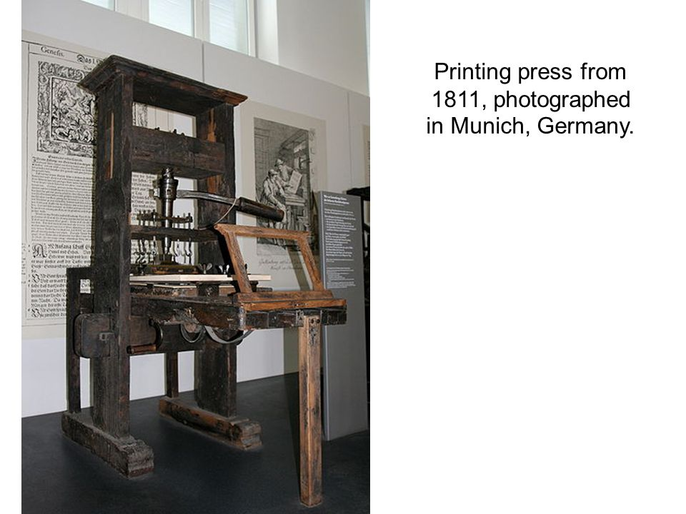 Printing press from 1811, photographed in Munich, Germany.