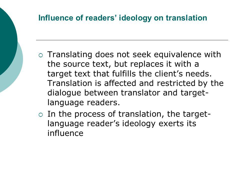 Influence of readers' ideology on translation
