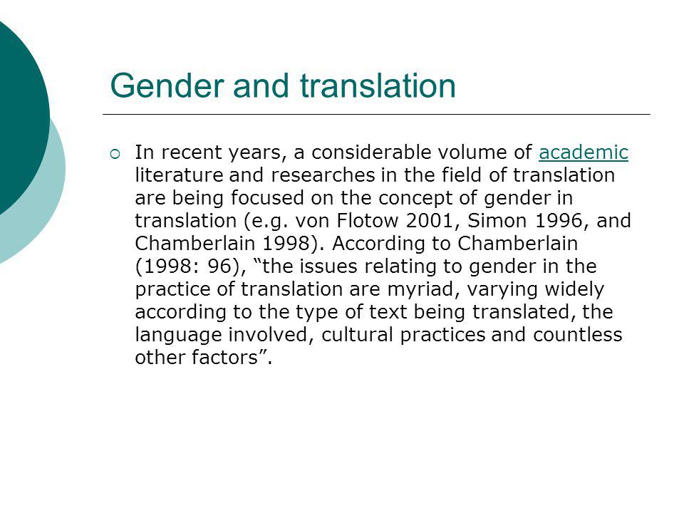 Gender and translation