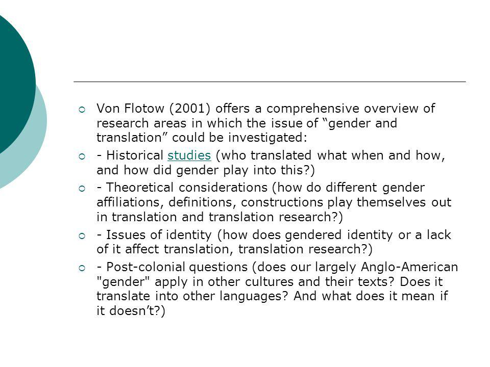 Von Flotow (2001) offers a comprehensive overview of research areas in which the issue of gender and translation could be investigated: