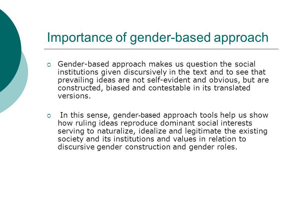Importance of gender-based approach