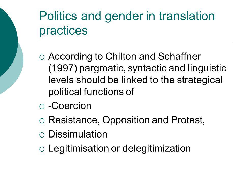 Politics and gender in translation practices