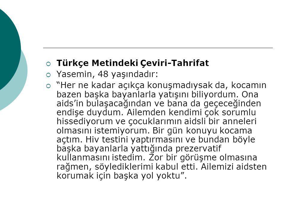 Türkçe Metindeki Çeviri-Tahrifat