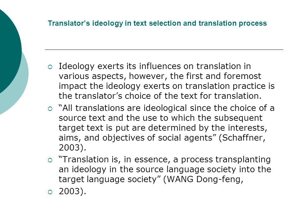 Translator's ideology in text selection and translation process