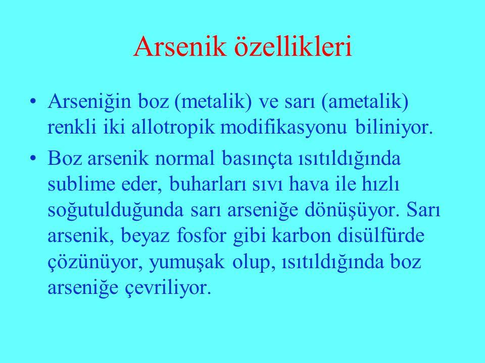 Arsenik özellikleri Arseniğin boz (metalik) ve sarı (ametalik) renkli iki allotropik modifikasyonu biliniyor.