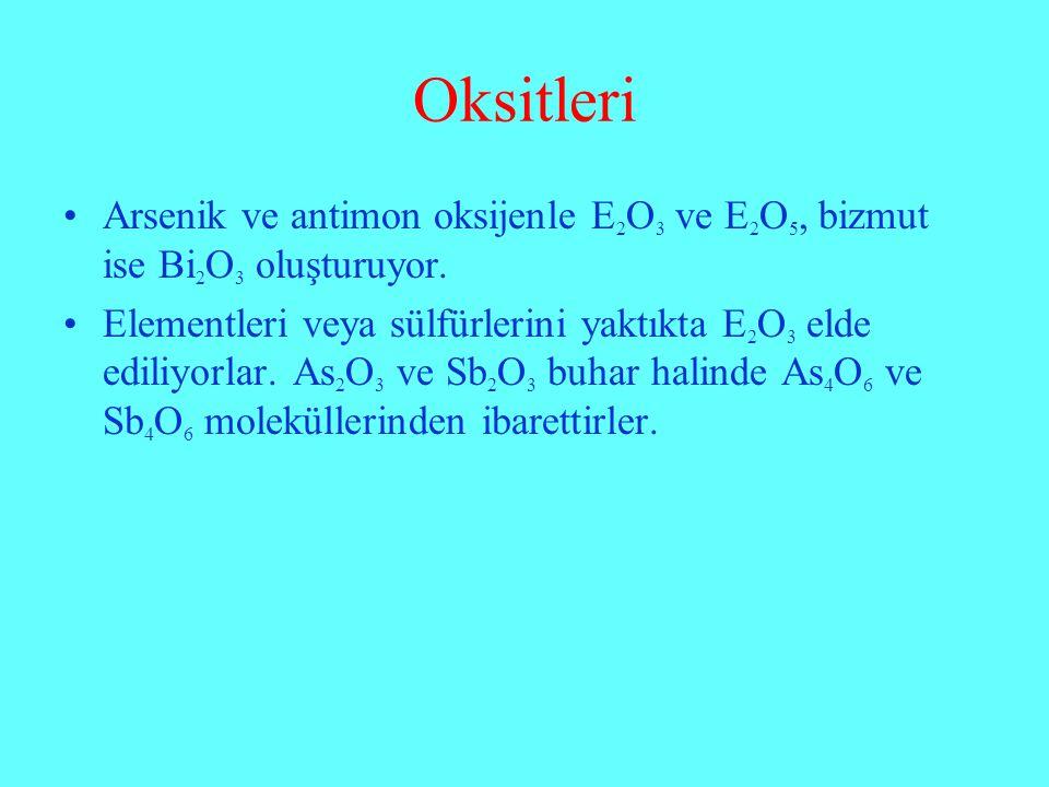 Oksitleri Arsenik ve antimon oksijenle E2O3 ve E2O5, bizmut ise Bi2O3 oluşturuyor.