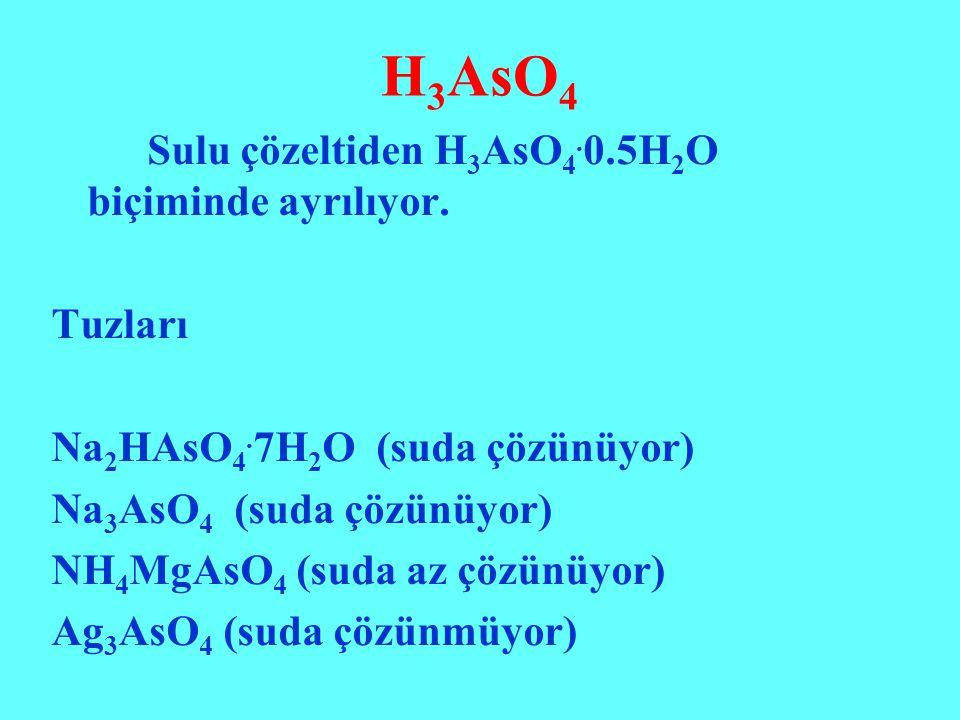 H3AsO4 Sulu çözeltiden H3AsO4.0.5H2O biçiminde ayrılıyor. Tuzları