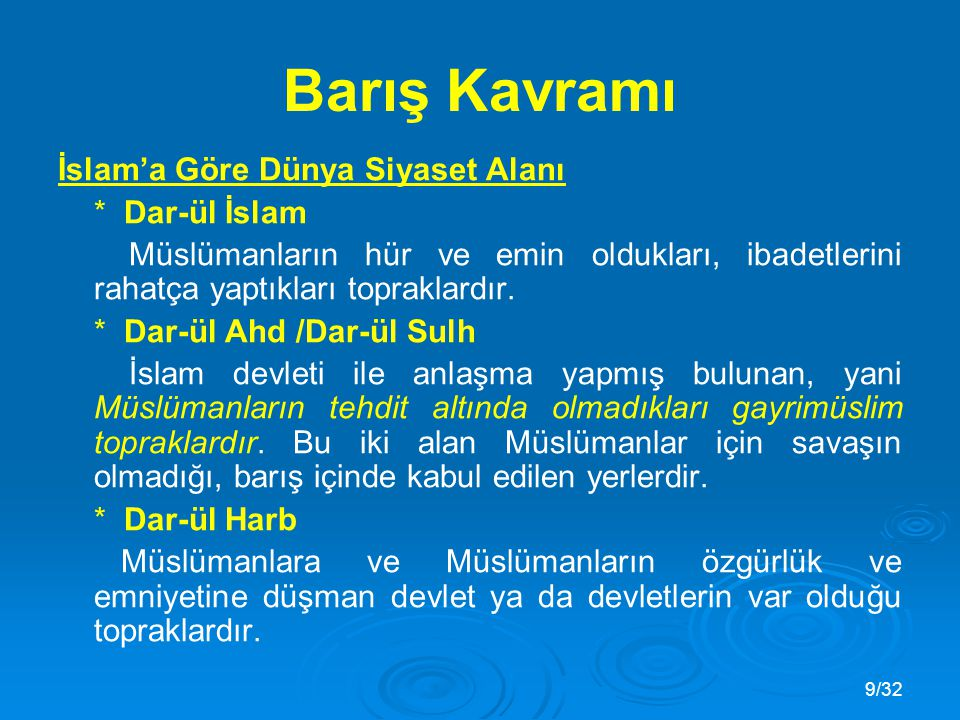 Barış Kavramı İslam'a Göre Dünya Siyaset Alanı * Dar-ül İslam