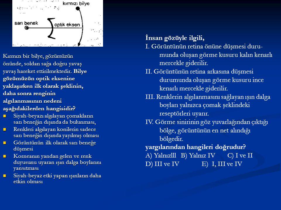 yargılarından hangileri doğrudur A) Yalnızlll B) Yalnız IV C) I ve II