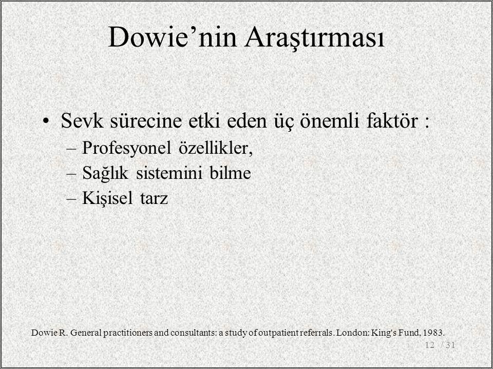 Dowie'nin Araştırması