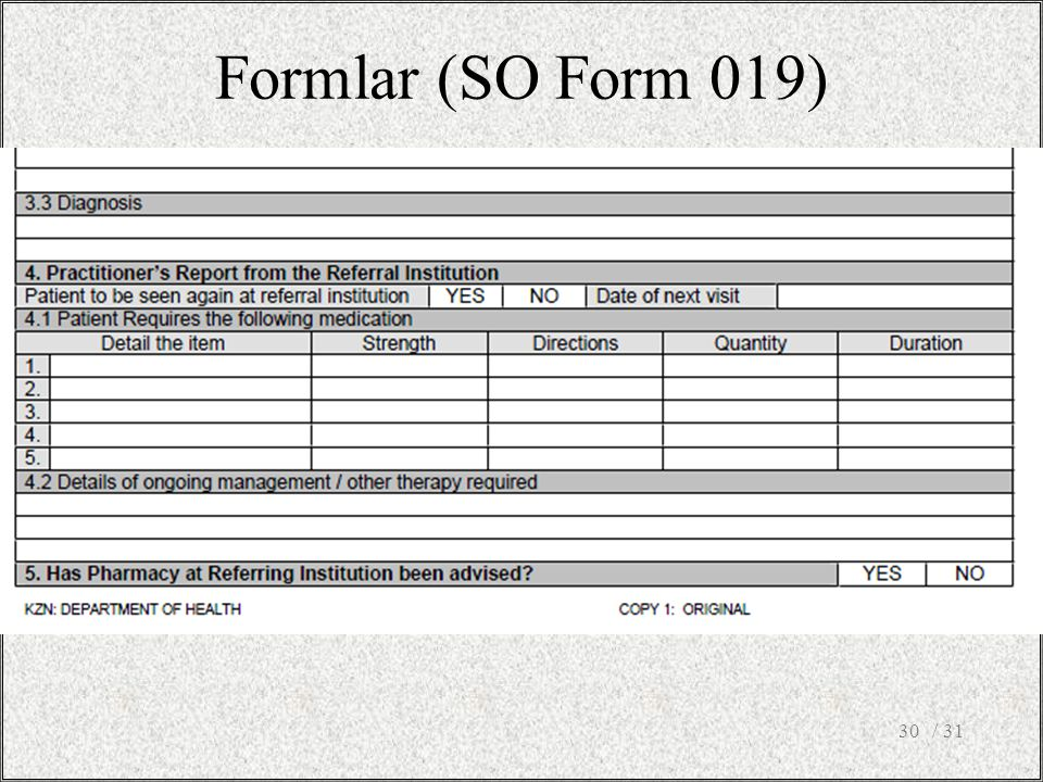 Formlar (SO Form 019) / 31