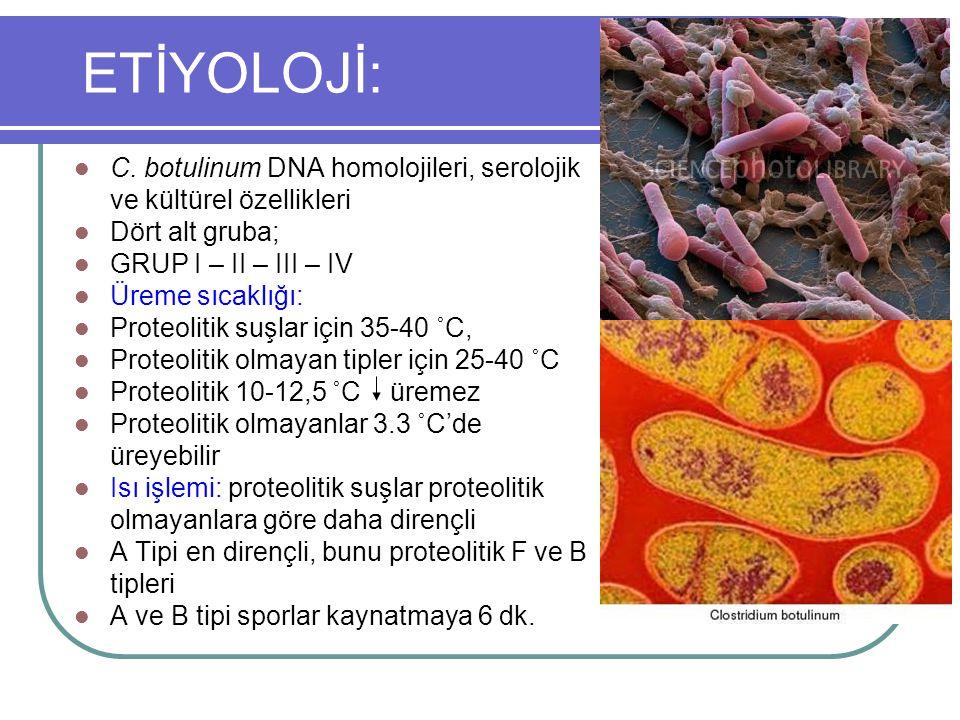 ETİYOLOJİ: C. botulinum DNA homolojileri, serolojik