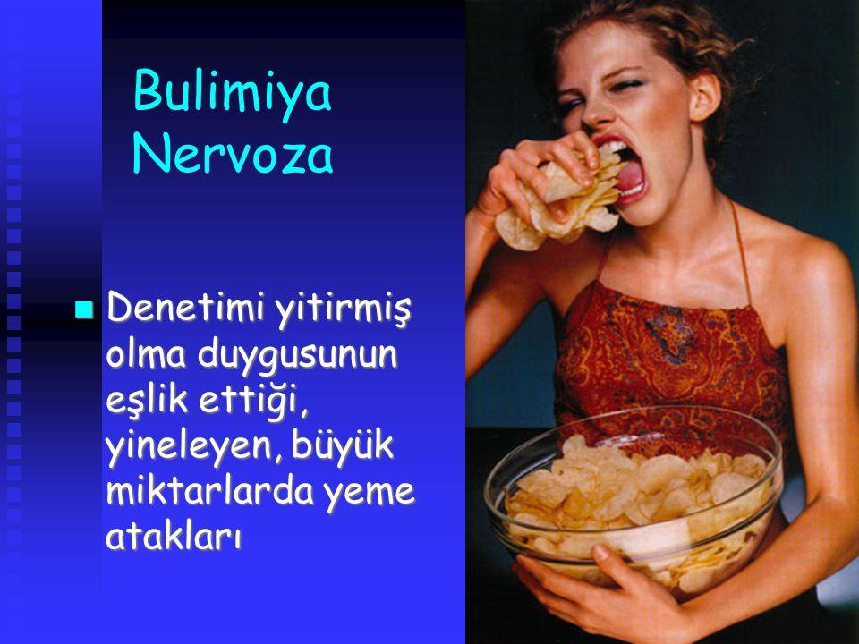 Bulimiya Nervoza Denetimi yitirmiş olma duygusunun eşlik ettiği, yineleyen, büyük miktarlarda yeme atakları.