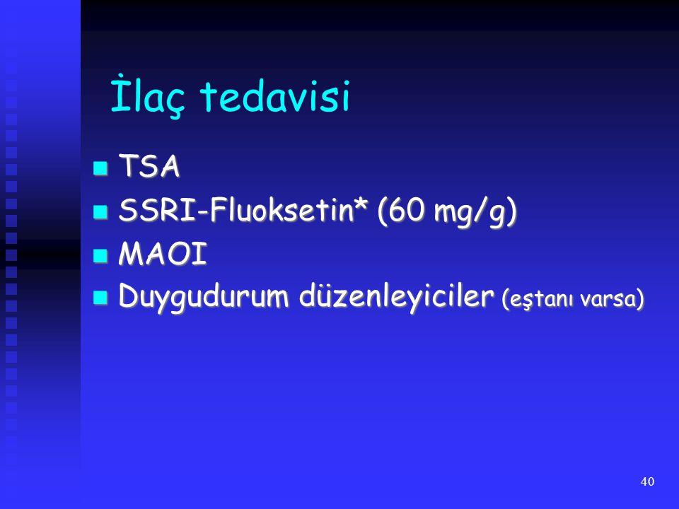 İlaç tedavisi TSA SSRI-Fluoksetin* (60 mg/g) MAOI