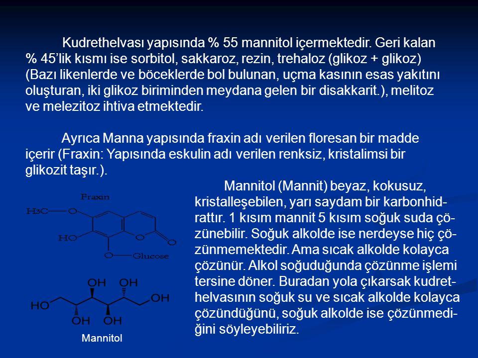 Kudrethelvası yapısında % 55 mannitol içermektedir