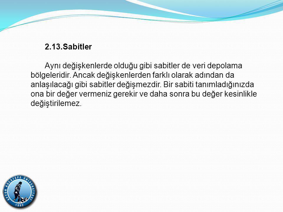 2.13.Sabitler