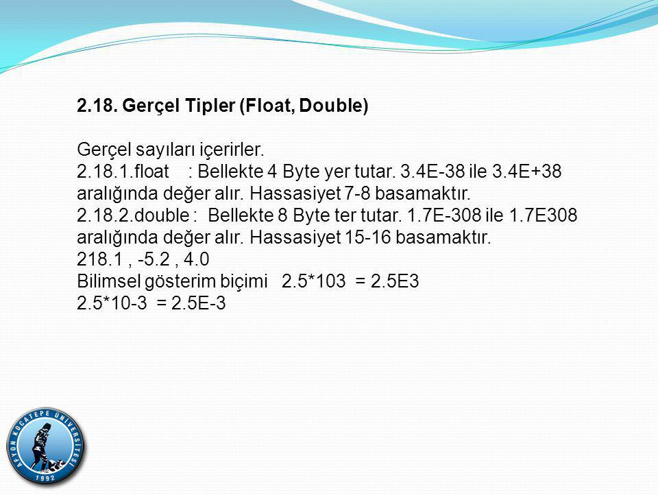 2.18. Gerçel Tipler (Float, Double)