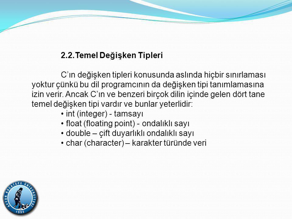 2.2.Temel Değişken Tipleri