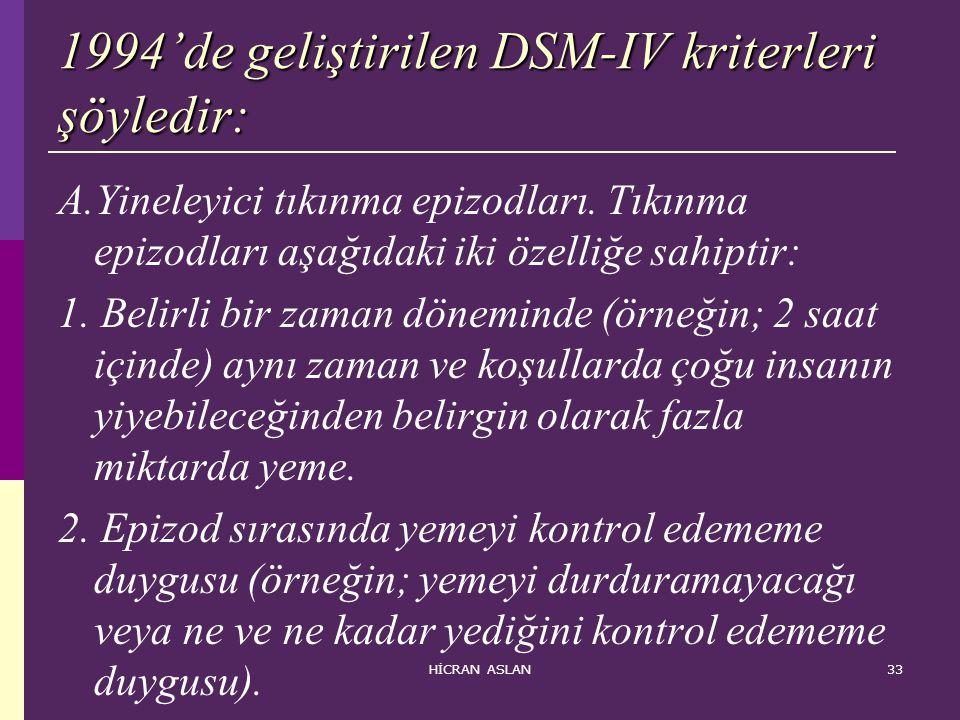 1994'de geliştirilen DSM-IV kriterleri şöyledir: