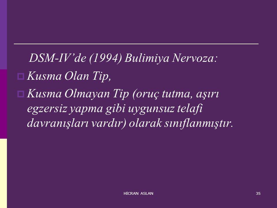DSM-IV'de (1994) Bulimiya Nervoza: Kusma Olan Tip,