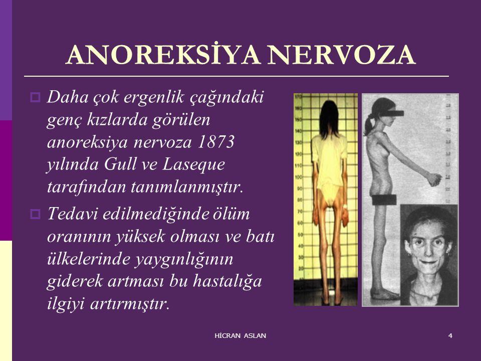 ANOREKSİYA NERVOZA Daha çok ergenlik çağındaki genç kızlarda görülen anoreksiya nervoza 1873 yılında Gull ve Laseque tarafından tanımlanmıştır.