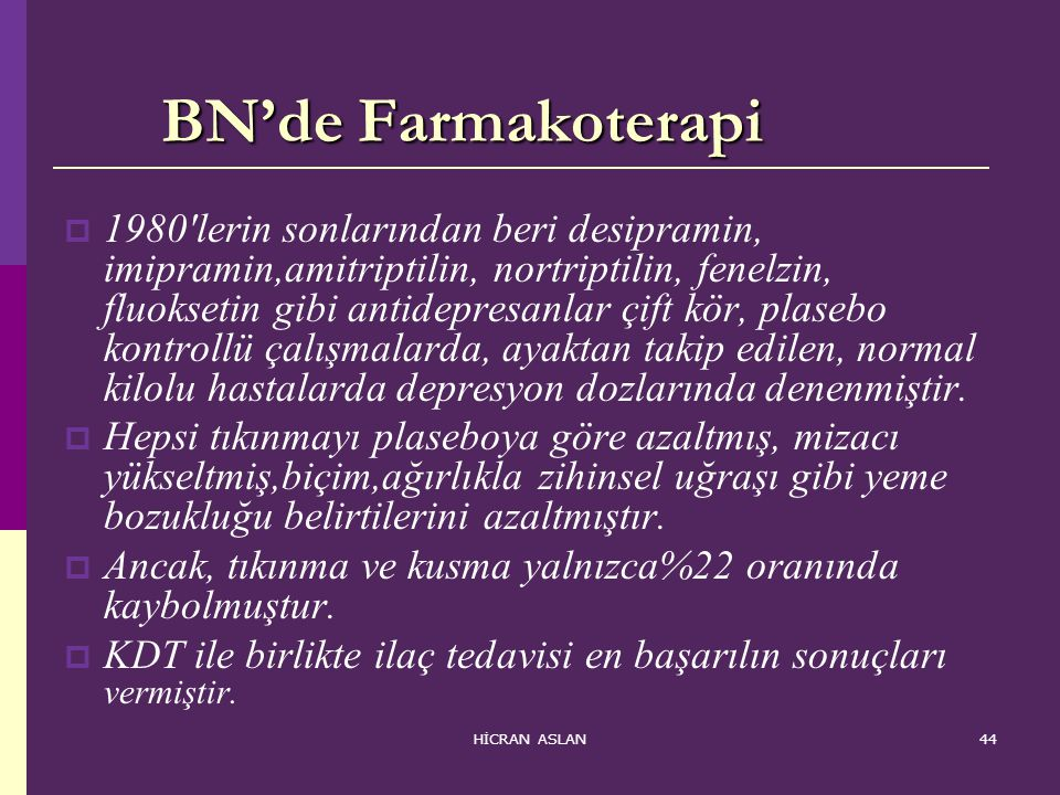 BN'de Farmakoterapi