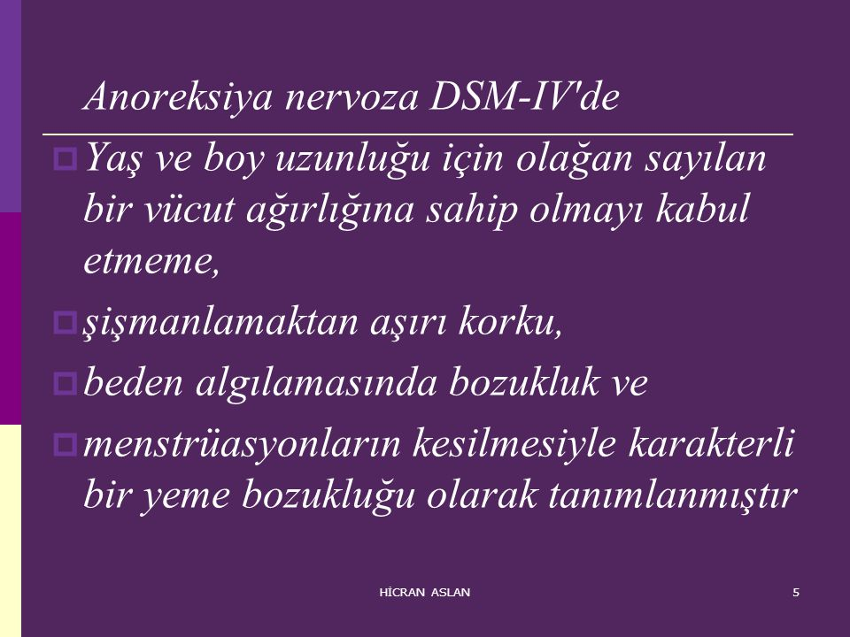 Anoreksiya nervoza DSM-IV de
